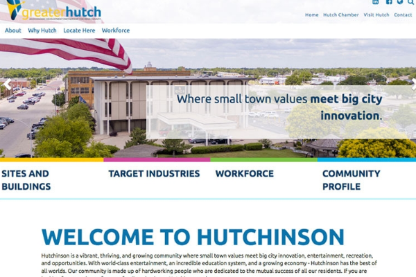 Click the New Websites Emphasize Hutchinson's Many Assets Slide Photo to Open